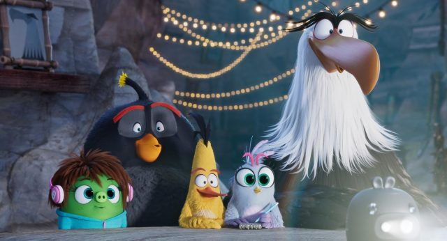 Courtney (Awkwafina), Bomb (Danny McBride), Chuck (Josh Gad), Silver (Rachel Bloom), and Mighty Eagle (Peter Dinklage) in Columbia Pictures and Rovio Animations' ANGRY BIRDS 2